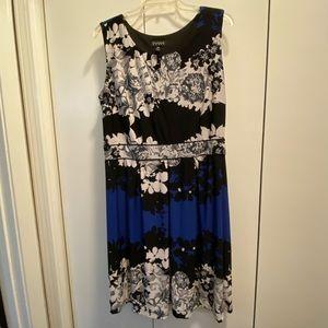 Black, Blue & White Floral Dress w/ Stretch Waist
